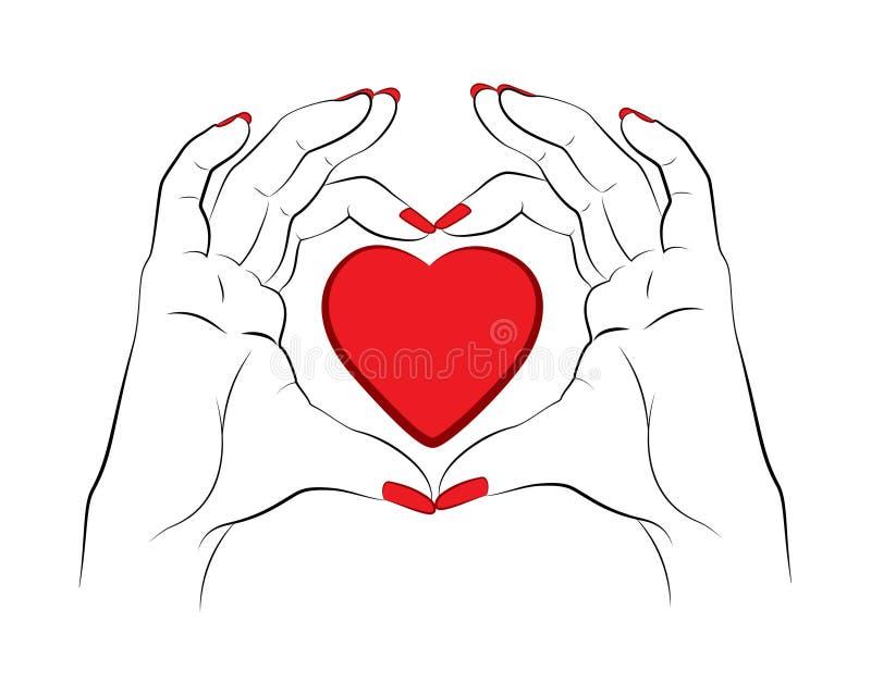 Duas mãos que fazem a forma do coração ilustração royalty free