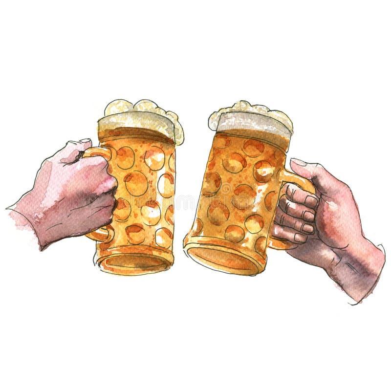 Duas mãos que guardam as canecas de cerveja que fazem o brinde, elogios, ilustração da aquarela ilustração royalty free