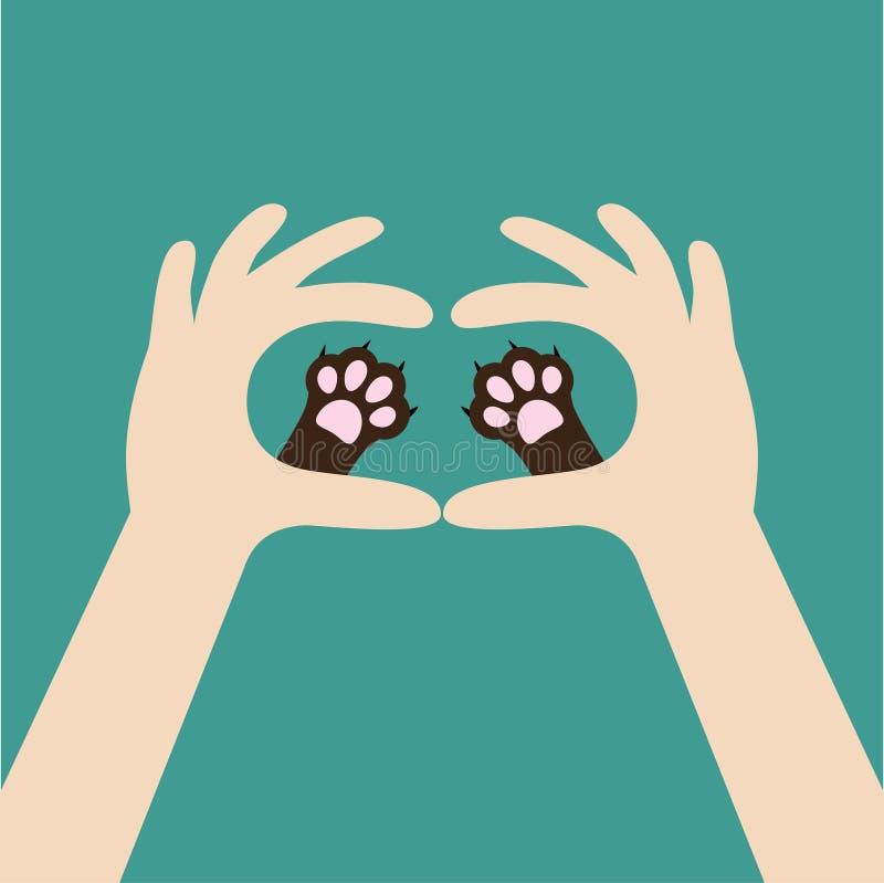 Duas mãos que guardam a cópia bonito da pata do cão do gato Animais de animal de estimação do amor e do cuidado Conceito da mão a ilustração do vetor