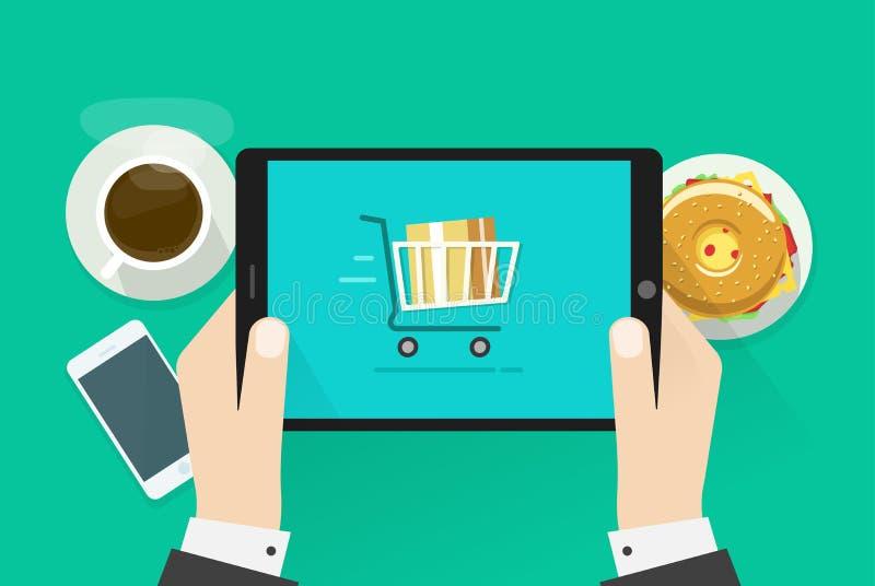 Duas mãos que guardam a ilustração do vetor do dispositivo do tablet pc ilustração royalty free