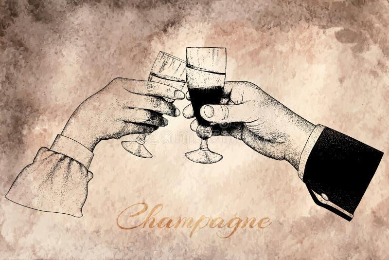 Duas mãos que guardam vidros do champanhe ilustração do vetor