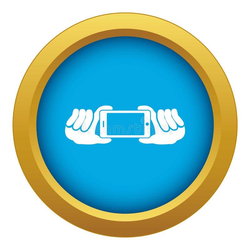 Duas mãos que mantêm o vetor azul do ícone do telefone celular isolado ilustração royalty free