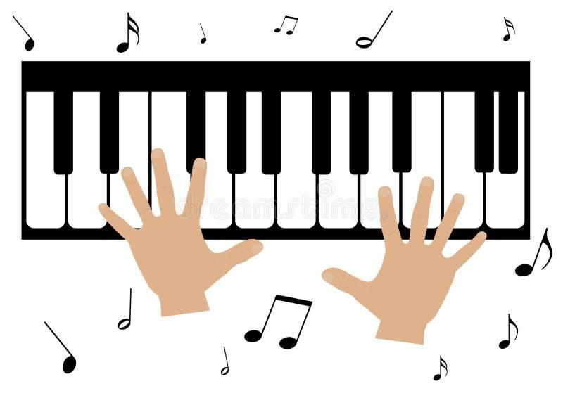 duas mãos, um piano e notas da música ilustração royalty free