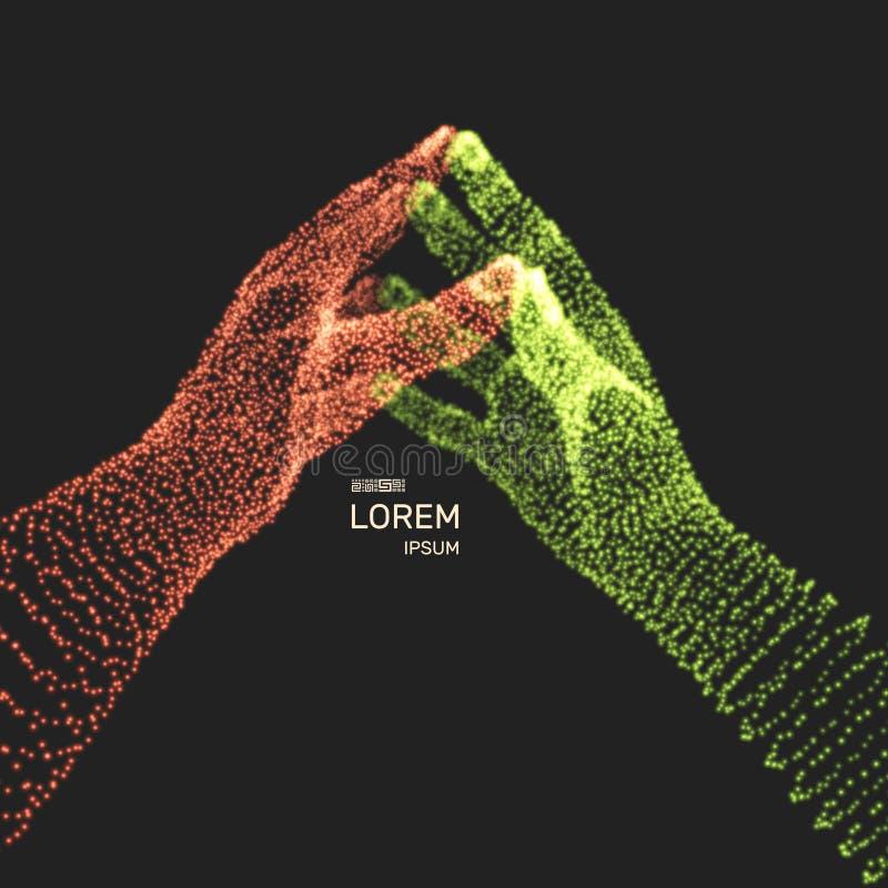 Duas m?os humanas Estrutura da conex?o Conceito do neg?cio ilustra??o do vetor 3d ilustração stock