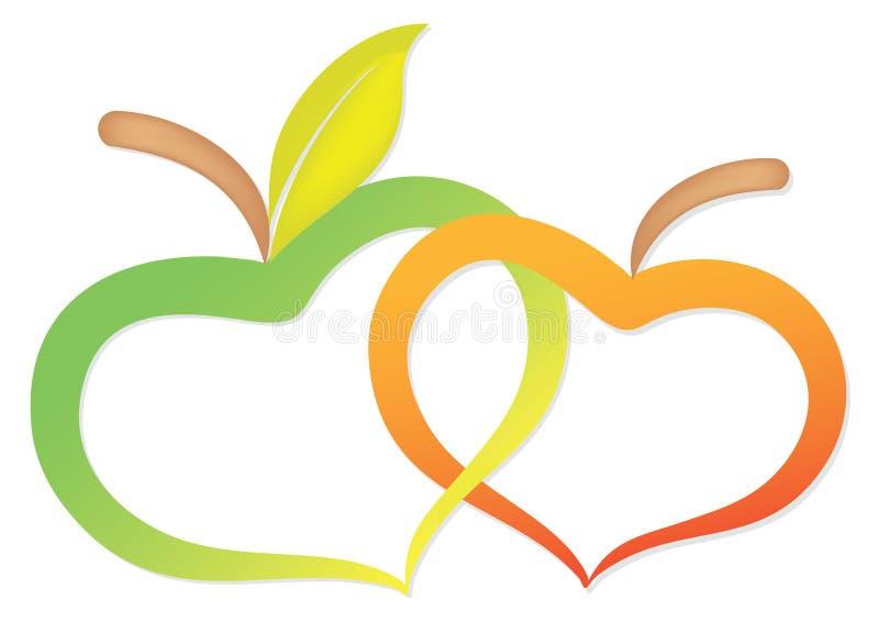 Duas maçãs devido ao coração ilustração stock
