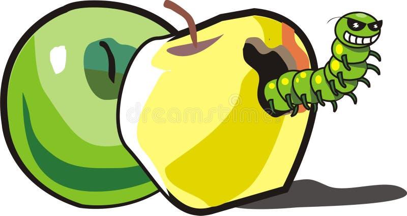 Duas maçãs e lagartas ilustração royalty free