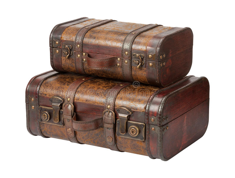 Duas malas de viagem de couro antigas empilhadas foto de stock