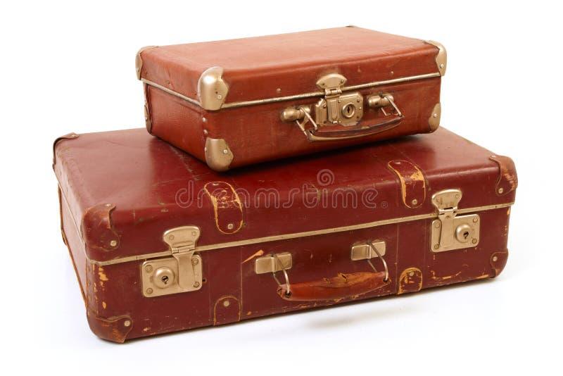 Duas malas de viagem velhas imagens de stock royalty free