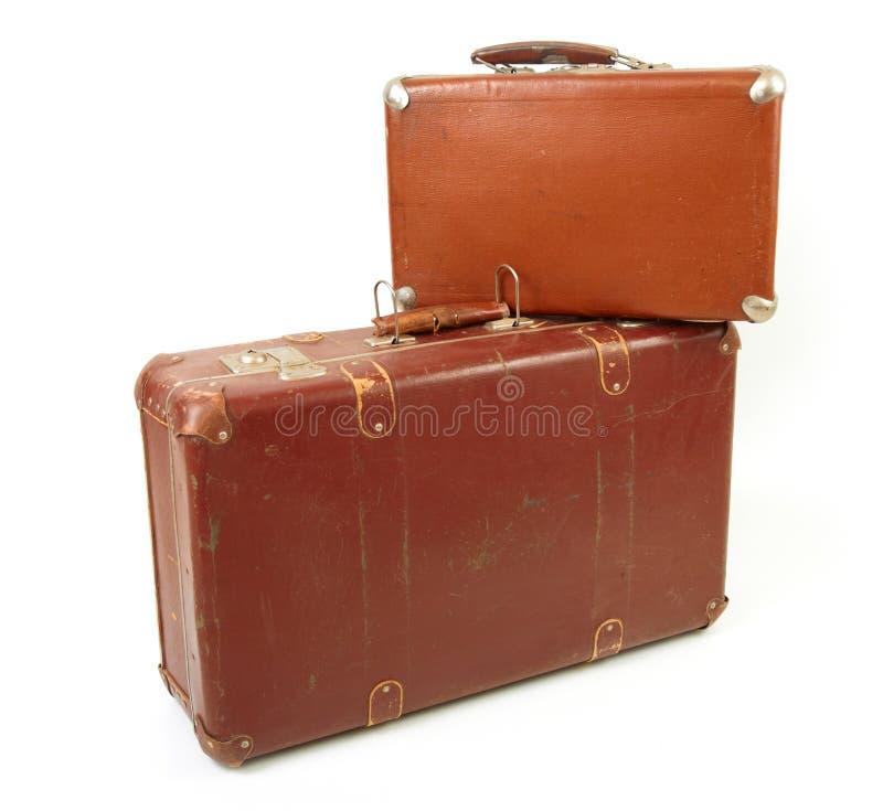 Duas malas de viagem velhas fotos de stock royalty free