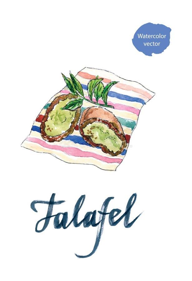 Duas meias bolas do grão-de-bico do falafel ilustração do vetor