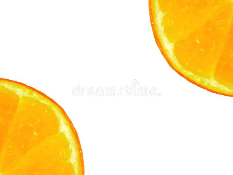 Duas meias laranjas frescas em ambos os cantos imagem de stock