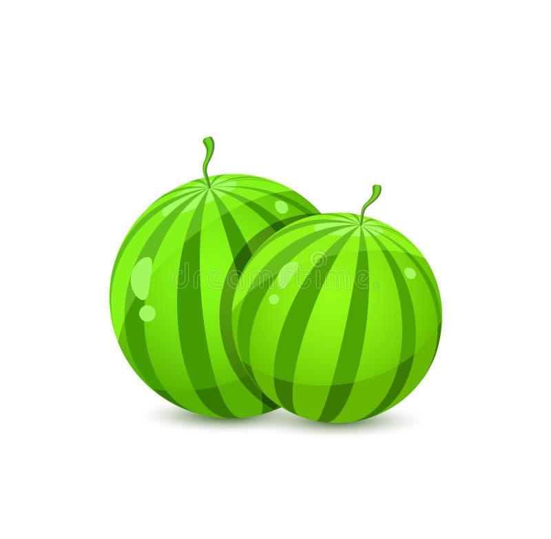 Duas melancias inteiras suculentas ilustração stock