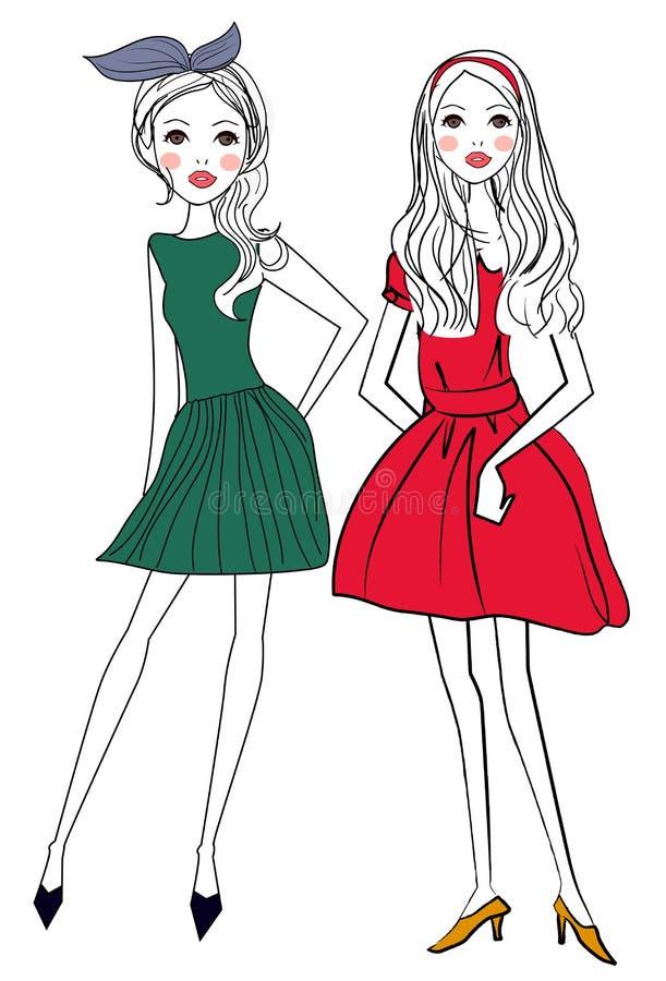 Duas meninas bonitas ilustração royalty free