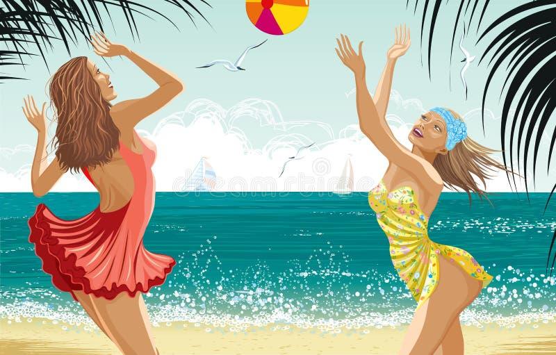 Duas meninas bonitas em uma praia ilustração royalty free