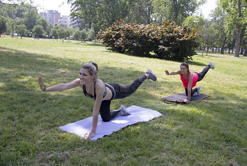 Duas meninas bonitas estão fazendo exercícios da aptidão no parque fotos de stock royalty free