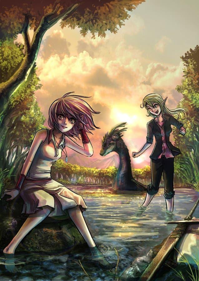 Duas meninas bonitos da fantasia que descansam no beira-rio depositam ilustração stock