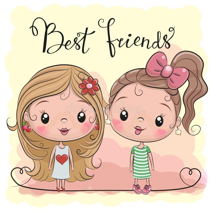 Duas meninas bonitos dos desenhos animados ilustração do vetor