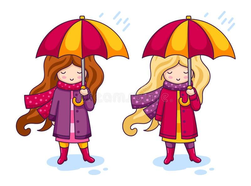 Duas meninas bonitos em revestimentos cor-de-rosa e scarves feitos malha grandes, com guarda-chuvas Autumn Fashion ilustração stock