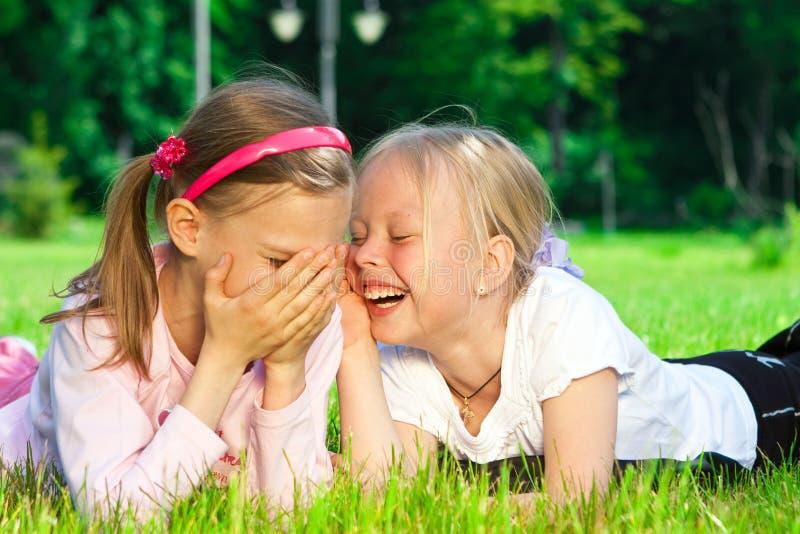 Duas meninas bonitos que riem na grama fotografia de stock royalty free