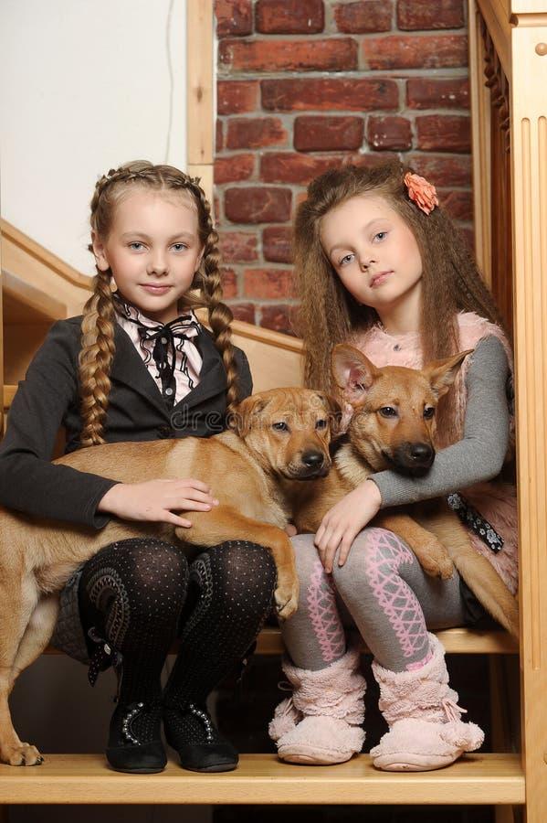 Duas meninas da irmã com cachorrinhos fotos de stock