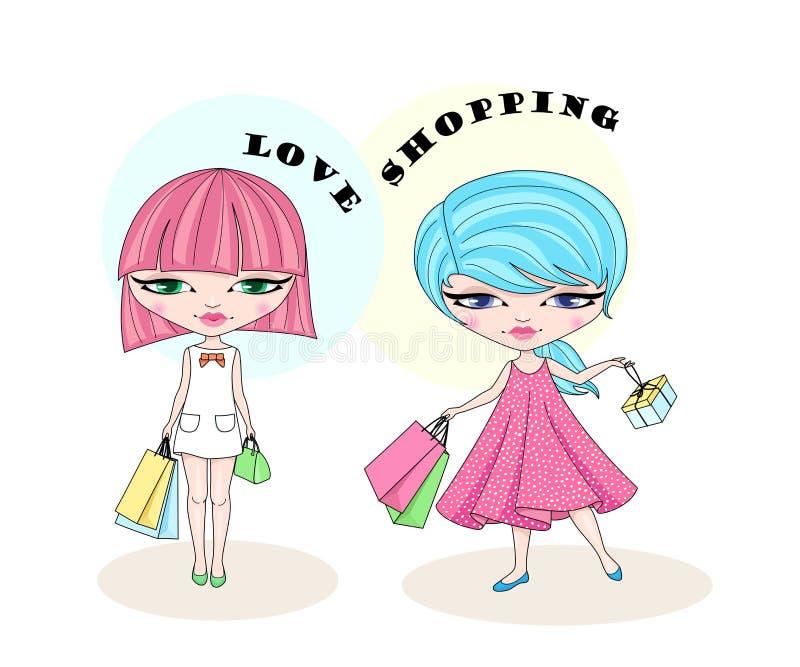 Duas meninas de compra bonitos da forma ilustração stock