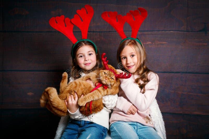 Duas meninas de sorriso pequenas engraçadas com o gato vermelho em chifres dos cervos no fundo de madeira Feliz Natal e ano novo  foto de stock royalty free