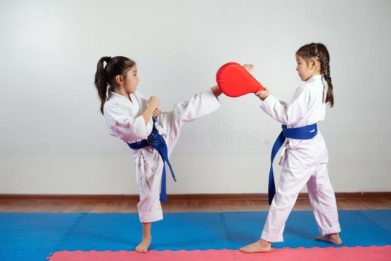 Duas meninas demonstram as artes marciais que trabalham junto imagens de stock royalty free
