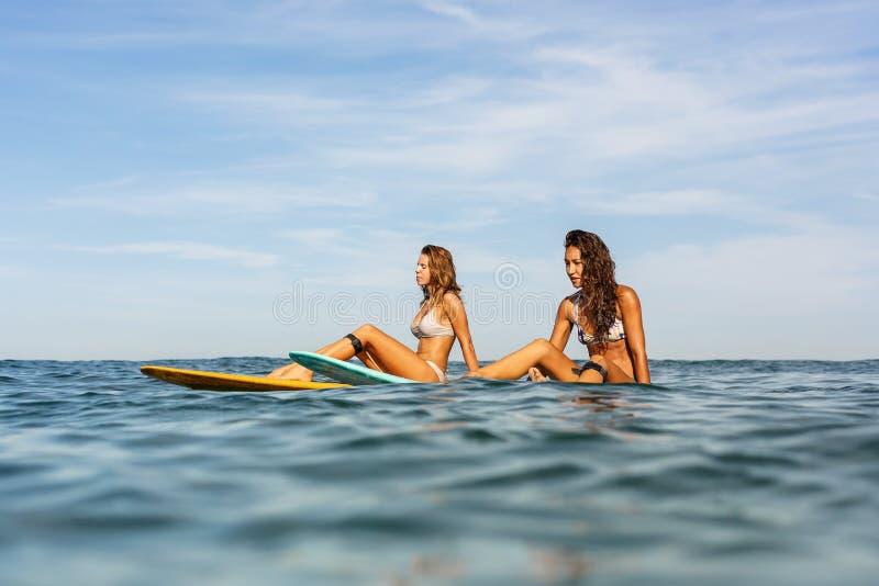 Duas meninas desportivas bonitas que surfam no oceano fotos de stock