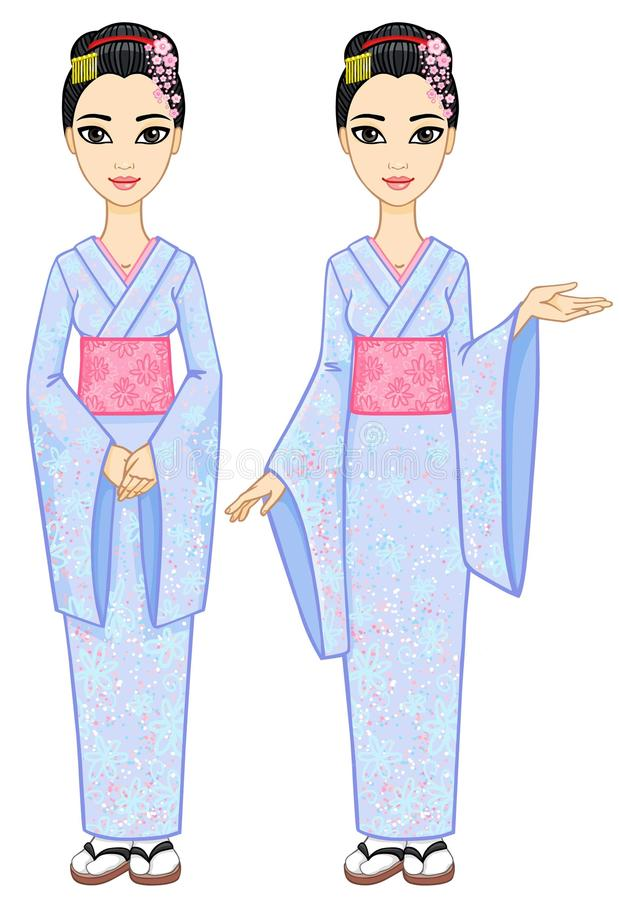 Duas meninas do japonês da animação ilustração stock