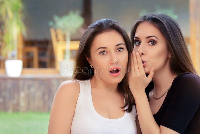 Duas meninas do melhor amigo que sussurram um segredo fotografia de stock