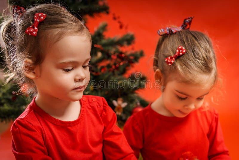 Download Duas Meninas E Uma árvore De Natal Imagem de Stock - Imagem de menina, alegria: 80101545