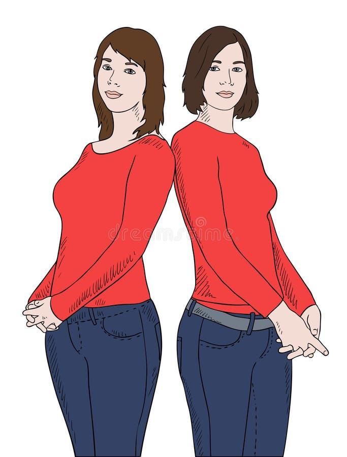 Duas meninas em camisas vermelhas ilustração stock