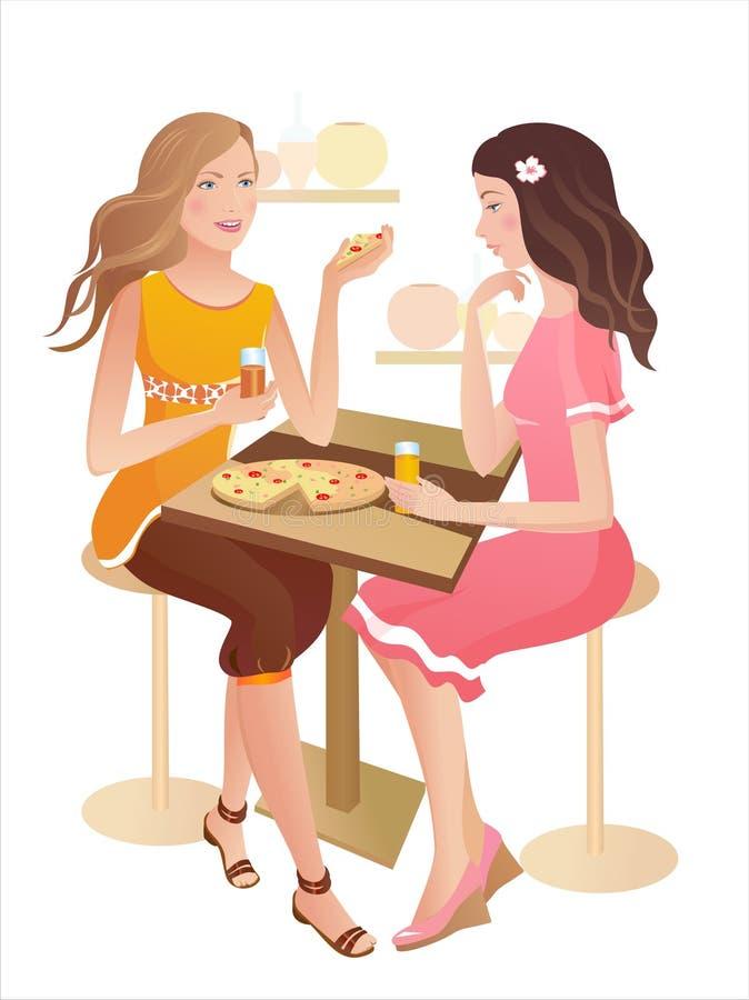 Duas meninas em um café ilustração royalty free