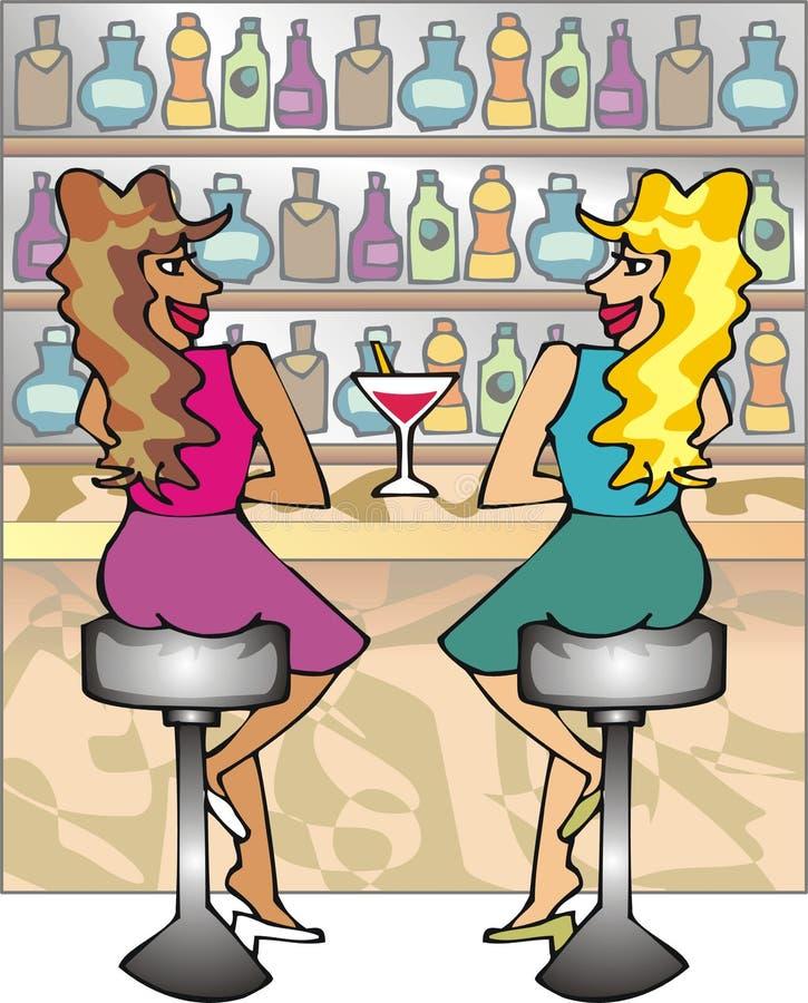 Duas meninas em uma barra ilustração royalty free