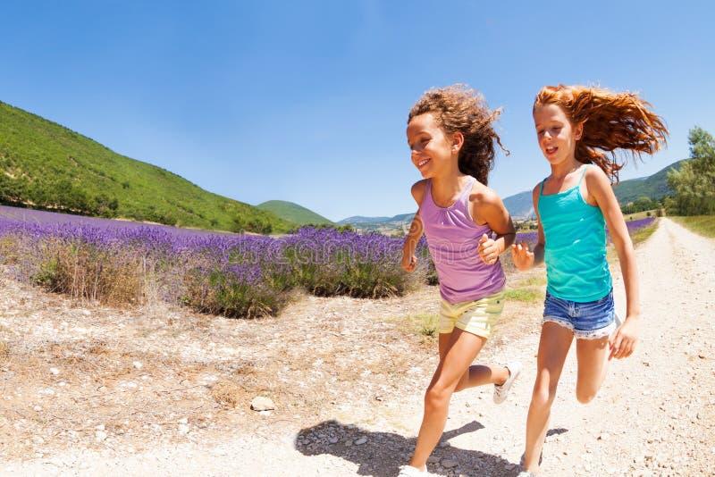 Duas meninas felizes que correm junto no campo da alfazema fotos de stock royalty free