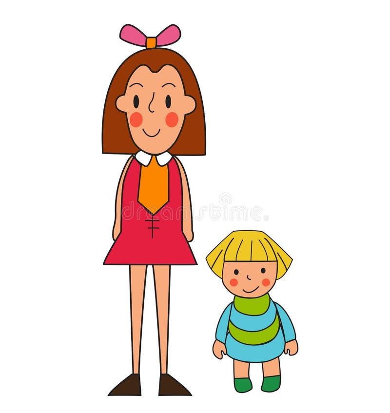 Duas meninas Ilustração de uma menina bonito e de sua boneca Isolador ilustração royalty free