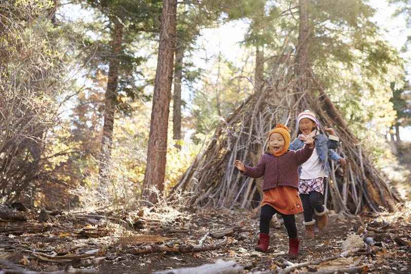 Duas meninas jogam fora do abrigo feito dos ramos em uma floresta fotos de stock