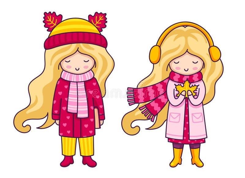 Duas meninas louras bonitos Autumn Fashion ilustração stock