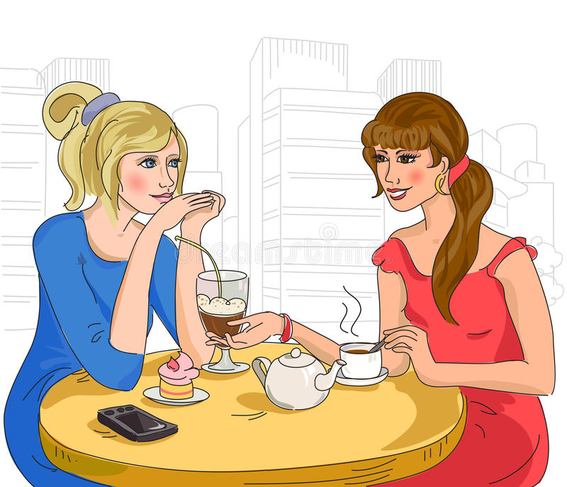 Duas meninas no café ilustração do vetor