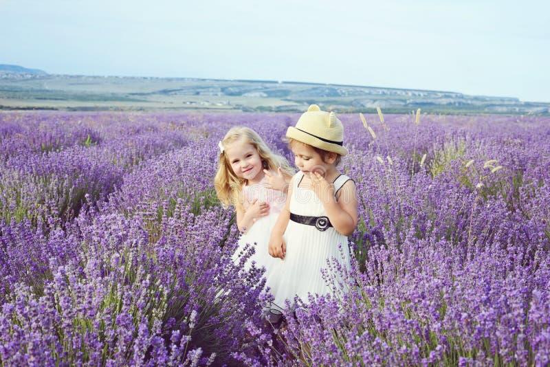 Duas meninas no campo da alfazema imagens de stock