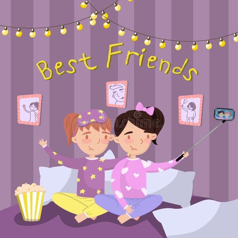 Duas meninas nos pijamas que fazem o selfie ao sentar-se na cama, crianças nos pijamas no partido de descanso Vetor dos melhores  ilustração royalty free