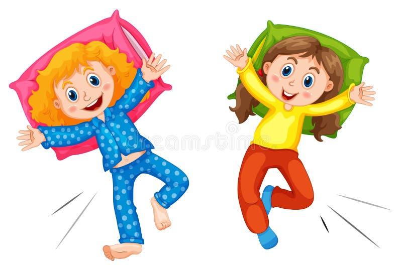 Duas meninas nos pyjams no partido de descanso ilustração stock