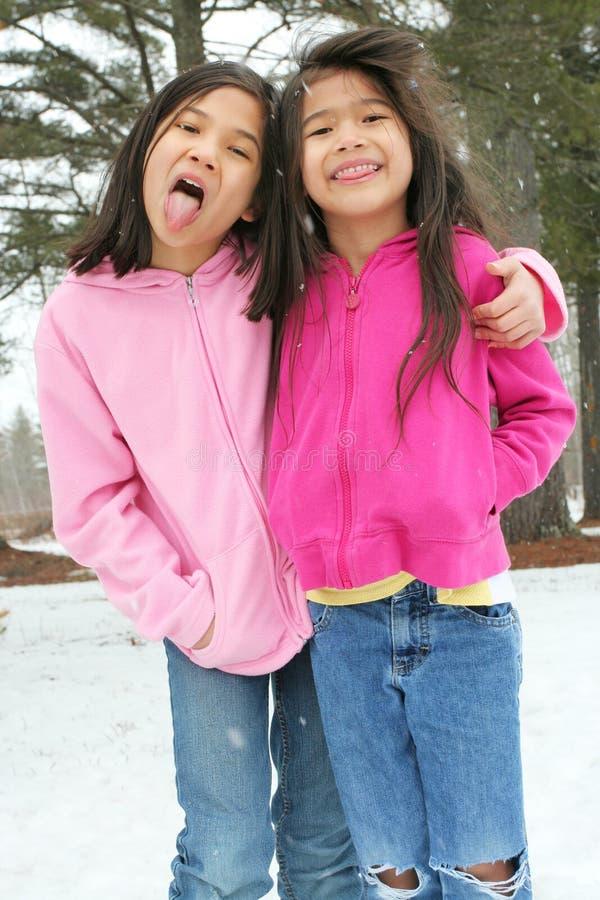 Duas meninas que apreciam o inverno fotos de stock