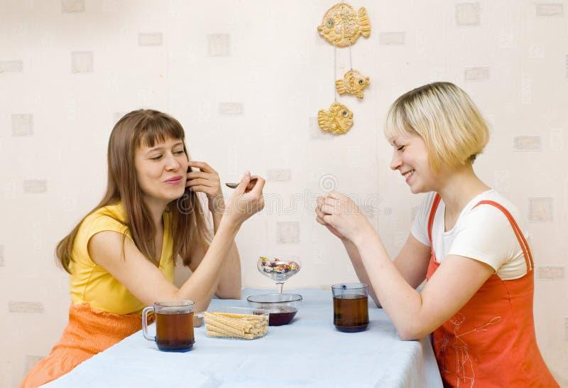Duas meninas que comem o chá imagem de stock