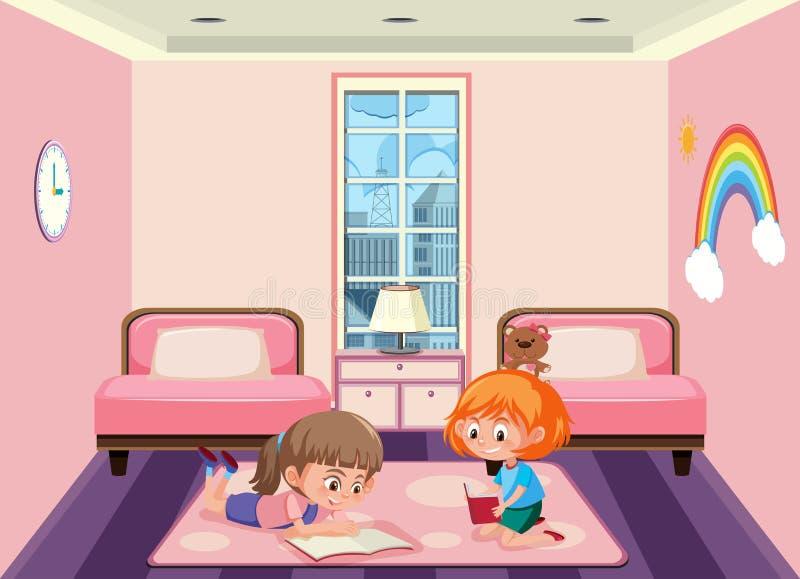 Duas meninas que compartilham do quarto ilustração royalty free