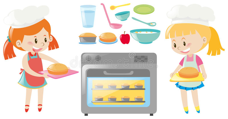Duas meninas que cozem e tipos diferentes do alimento ilustração royalty free
