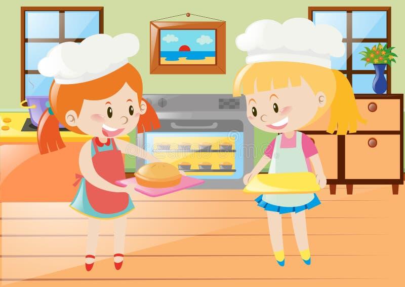 Duas meninas que cozem a torta na cozinha ilustração do vetor