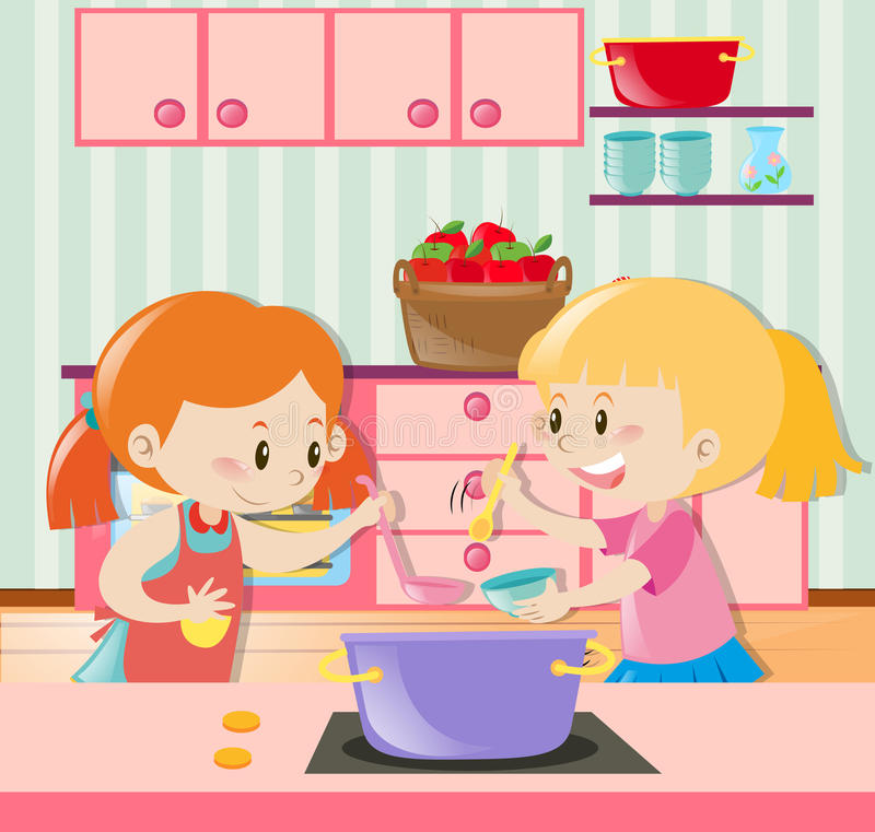 Duas meninas que fazem a sopa na cozinha ilustração stock