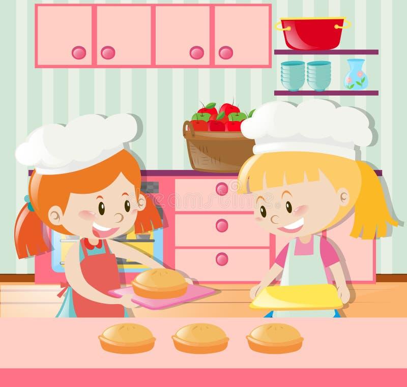 Duas meninas que fazem a torta na cozinha ilustração stock