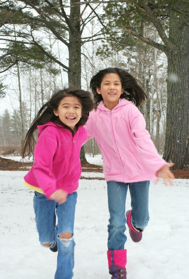 Duas meninas que funcionam através da neve foto de stock royalty free